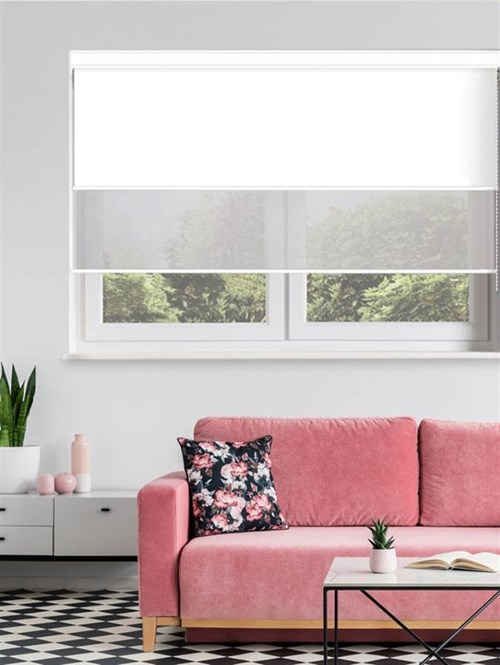 White and Grey Luxury Double Roller Blind