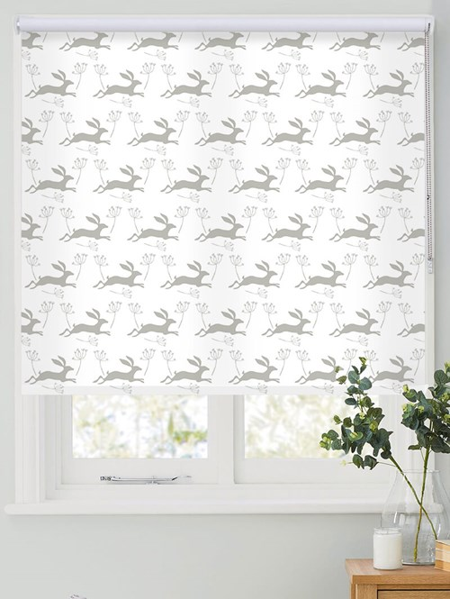 Leaping Hare in Flint Roller Blind by Amanda Redwin