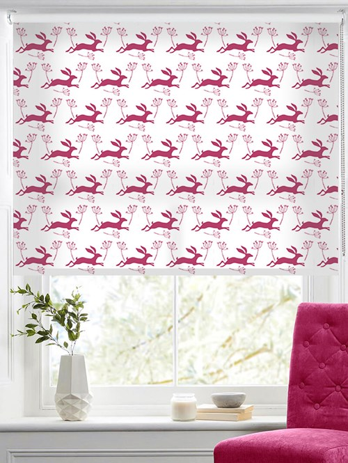 Leaping Hare in Raspberry Jam Roller Blind by Amanda Redwin