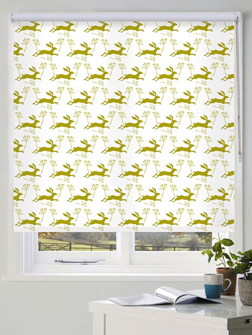 Leaping Hare in Pear Roller Blind by Amanda Redwin
