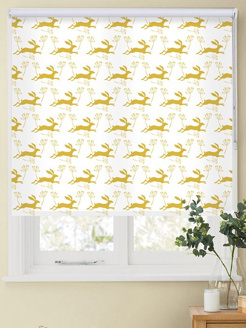 Leaping Hare in Sunflower Roller Blind by Amanda Redwin