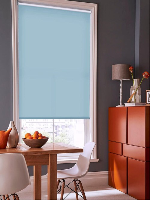 Flax Blue Daylight Electric Roller Blind