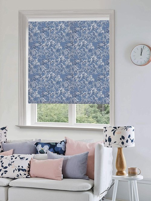 Arla Blue Electric Roller Blind by Lorna Syson