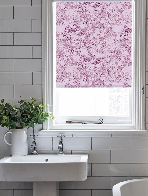 Arla Pink Electric Roller Blind by Lorna Syson