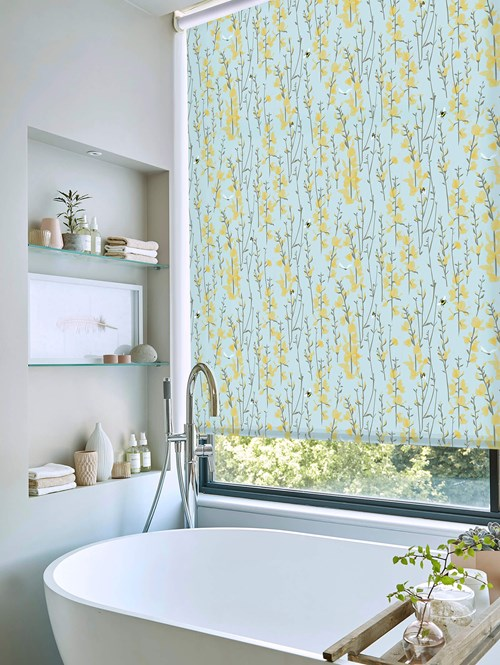 Broom and Bee Sky Electric Roller Blind by Lorna Syson