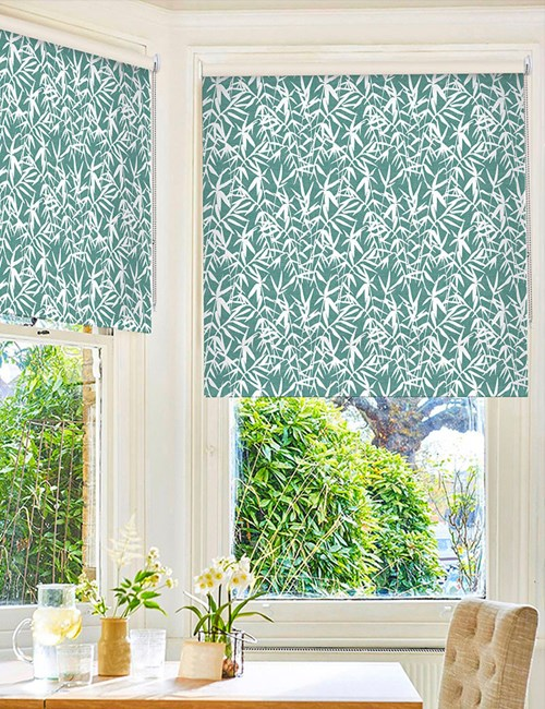 Bamboo Shadows Teal Floral Roller Blind