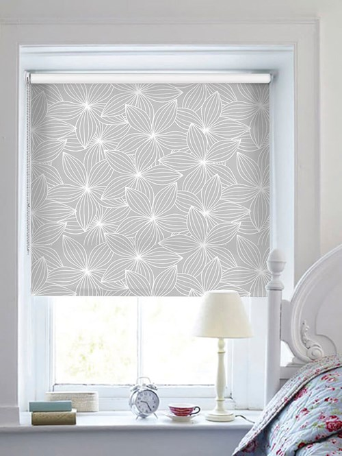 Starflower Pale Grey Floral Roller Blind
