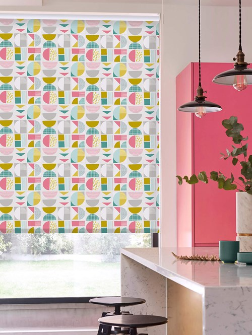 Segments Mustard Daylight Electric Roller Blind