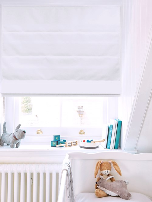 Jasmine White Electric Roman Blind
