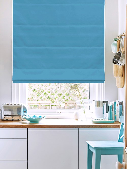 Morning Tide Electric Roman Blind