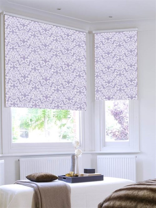 Lilac Lace Patterned Roller Blind