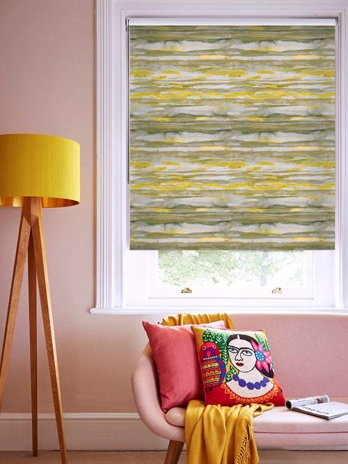 Aquarelle Stripe Mustard Roller Blind