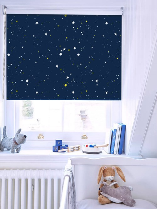 Evening Stars Navy Blue Blackout Roller Blind
