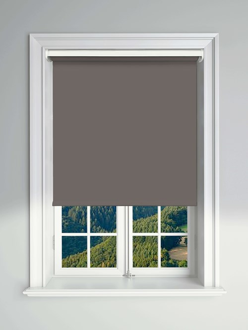 Blackout Slate Electric Roller Blind Powered By Solux