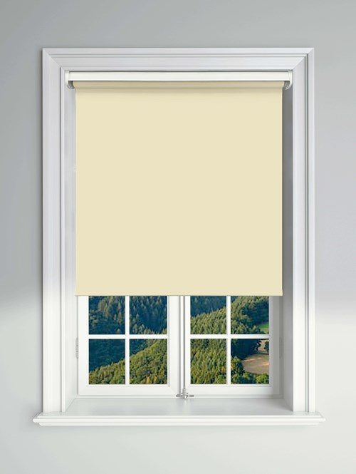 Blackout Cream Electric Roller Blind Powered By Solux