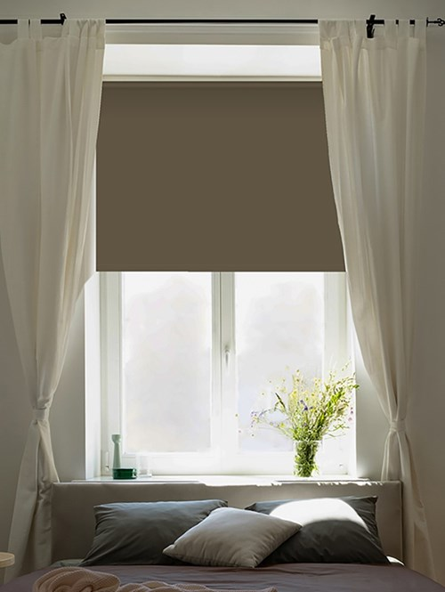 Milk Chocolate Blackout Electric Roller Blind