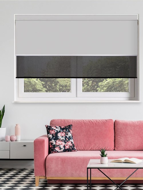 Grey and Black Electric Double Roller Blind