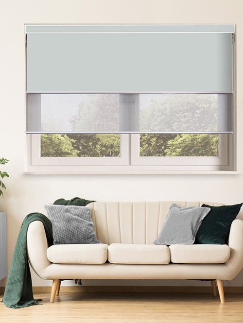 Light Grey Electric Double Roller Blind