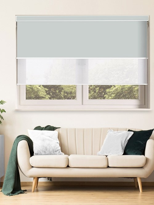 Light Grey and White Electric Double Roller Blind