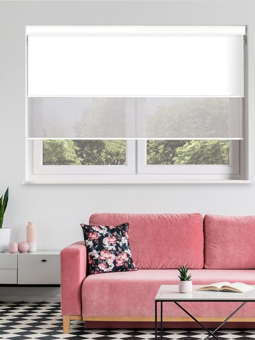 White and Grey Electric Double Roller Blind