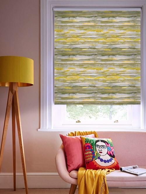 Aquarelle Stripe Mustard Patterned Blackout Electric Roller Blind