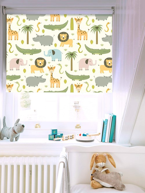 At The Zoo Patterned Blackout Electric Roller Blind