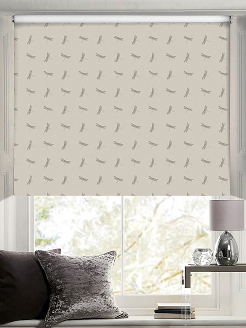 Dragonfly Patterned Blackout Electric Roller Blind