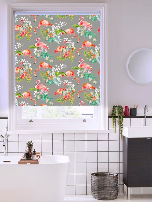 Flamingo Tropics Charcoal Patterned Blackout Electric Roller Blind