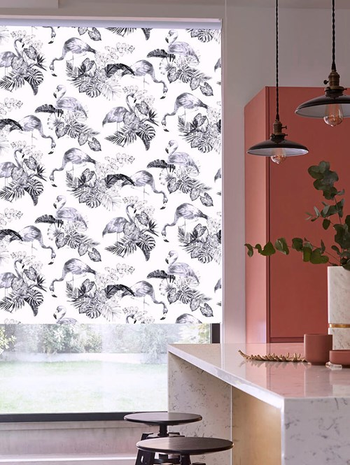 Flamingo Tropics Mono Patterned Blackout Electric Roller Blind
