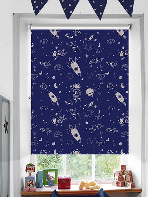 Galaxy Patterned Blackout Electric Roller Blind