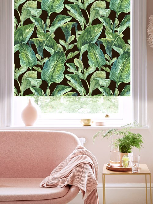 Jungle Leaves Night Patterned Blackout Electric Roller Blind