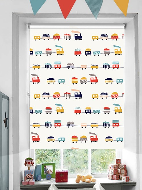 Locomotive Patterned Blackout Electric Roller Blind
