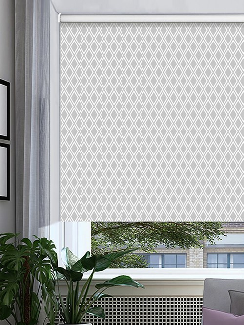 Romanov Grey Patterned Blackout Electric Roller Blind