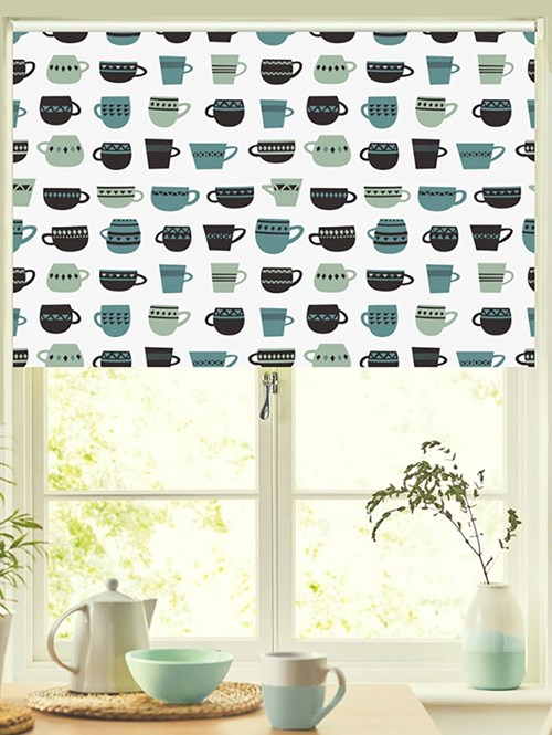 Teacups Aqua Patterned Blackout Electric Roller Blind