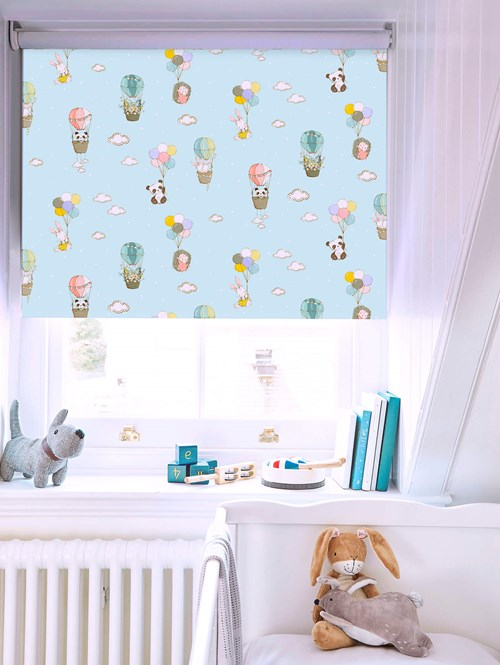 Up Up and Away Patterned Blackout Electric Roller Blind