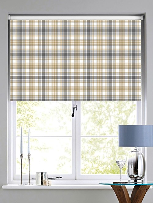 Wallace Check Patterned Blackout Electric Roller Blind