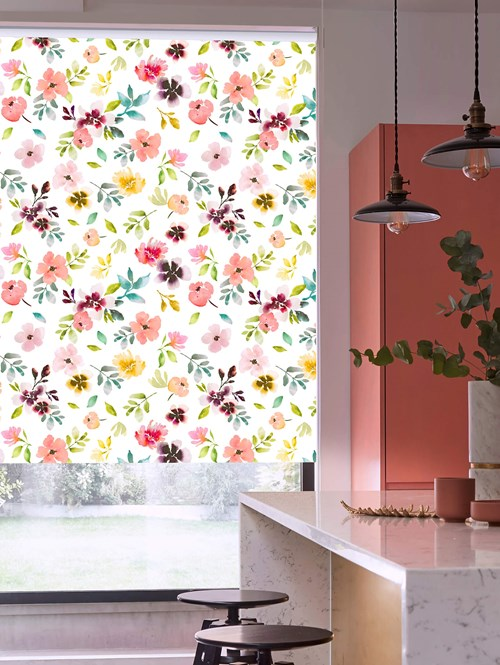 Wildflower Dawn Patterned Blackout Electric Roller Blind