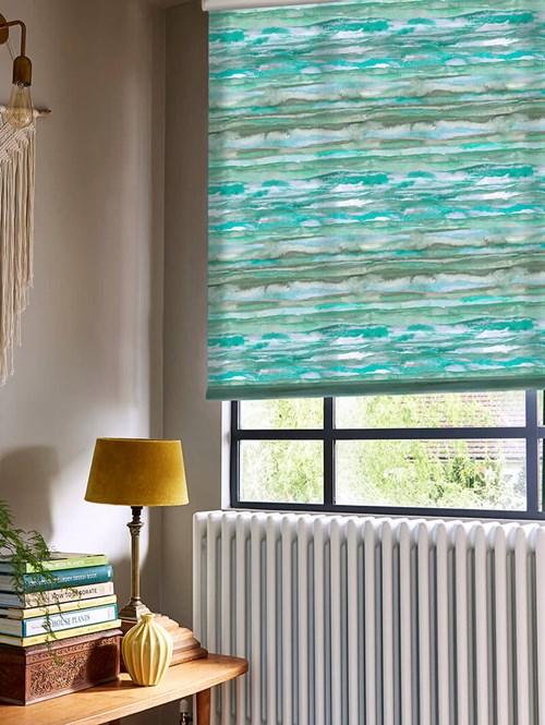 Aquarelle Stripe Aqua Patterned Daylight Electric Roller Blind