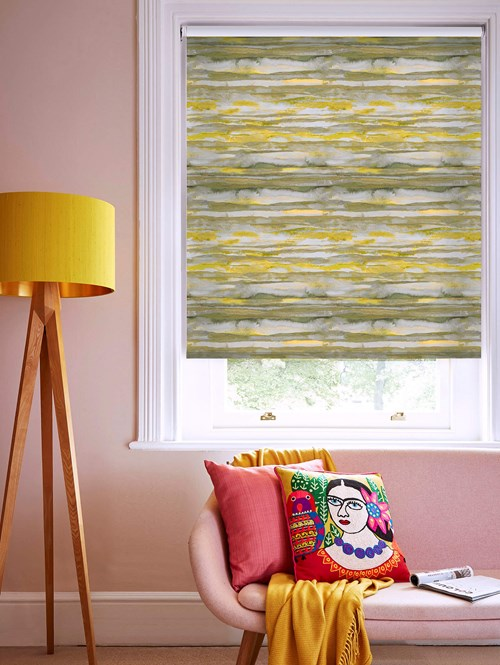 Aquarelle Stripe Mustard Patterned Daylight Electric Roller Blind