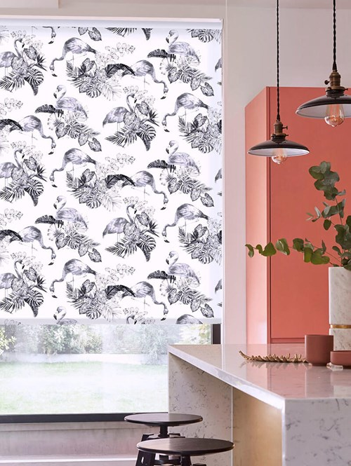 Flamingo Tropics Mono Patterned Daylight Electric Roller Blind