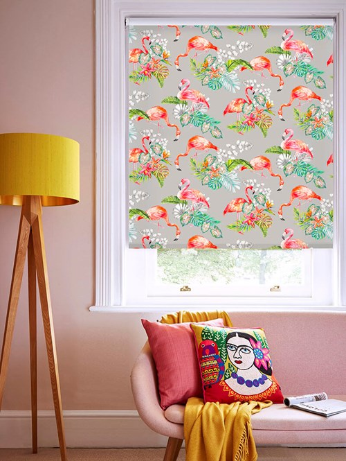 Flamingo Tropics Stone Patterned Daylight Electric Roller Blind