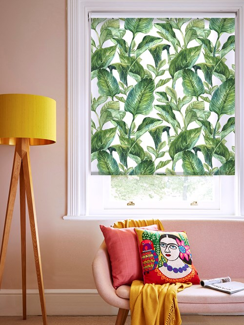 Jungle Leaves Day Patterned Daylight Electric Roller Blind