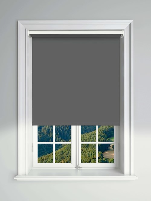 Blackout Carbon Electric Roller Blind Powered By Solux