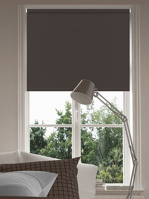 Essential Dark Chocolate Electric Blackout Roller Blind