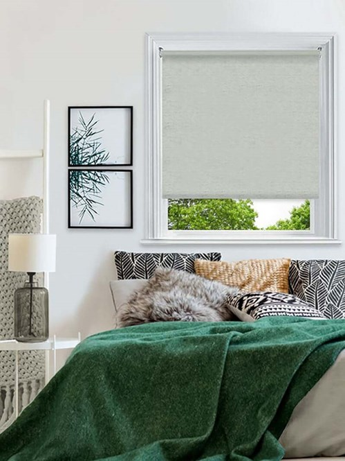 Essential Grey Linen Electric Blackout Roller Blind