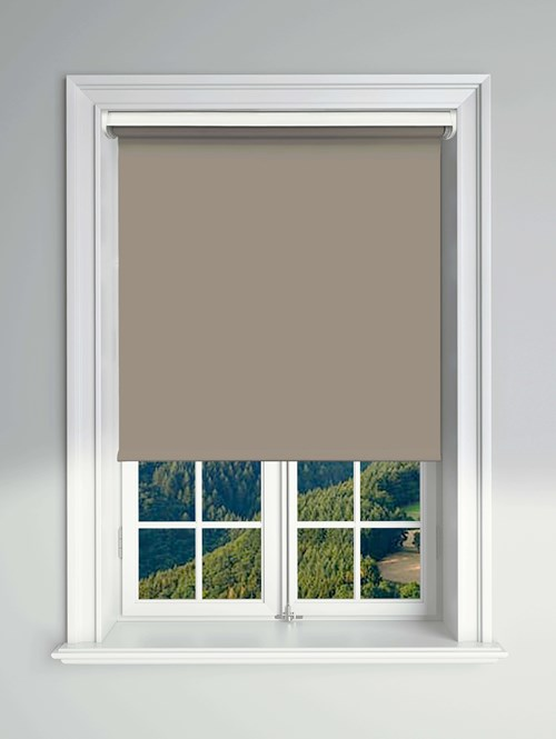 Blackout Taupe Electric Roller Blind Powered By Solux