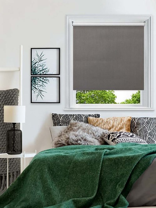 Essential Windsor Dark Grey Electric Blackout Roller Blind