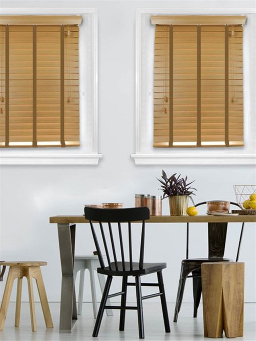 Pale Oak Woodgrain Faux Wood Venetian Blind With Biscuit Tapes