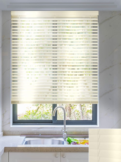 Gloss Cream 50mm Wooden Electric Venetian Blind