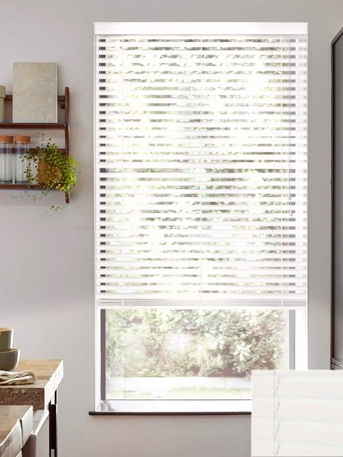 Gloss White 50mm Tilt Only Wooden Electric Venetian Blind